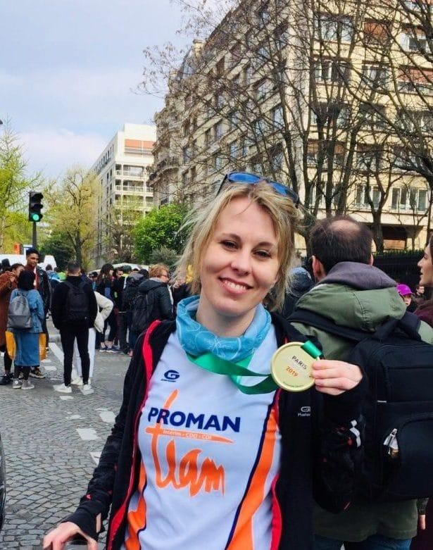 Cynthia au marathan de Paris