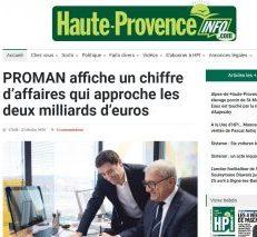 PROMAN affiche un chiffre d'affaires qui approche les deux milliards d'euros
